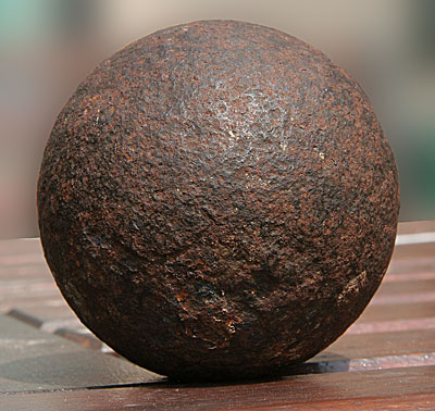 Cannonball discovered in the foundations of a house on Bryn-y-Felin, Dyserth
