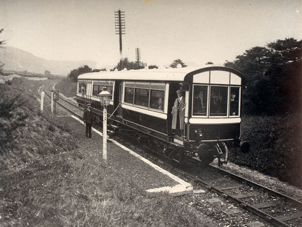 Railmotor at Rhuddlan Road Halt on Dyserth Railway in 1905