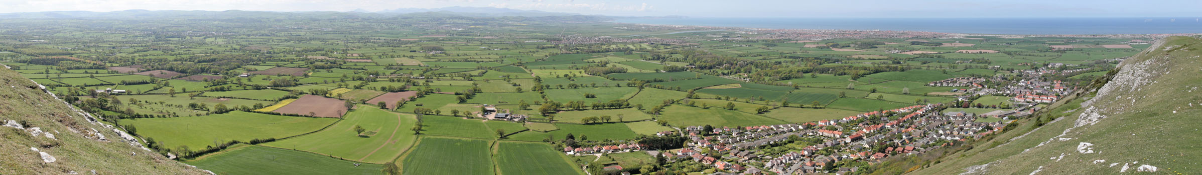 Panorama from Moel Hiraddug across the Vale of Clwyd and towards the sea, Dyserth