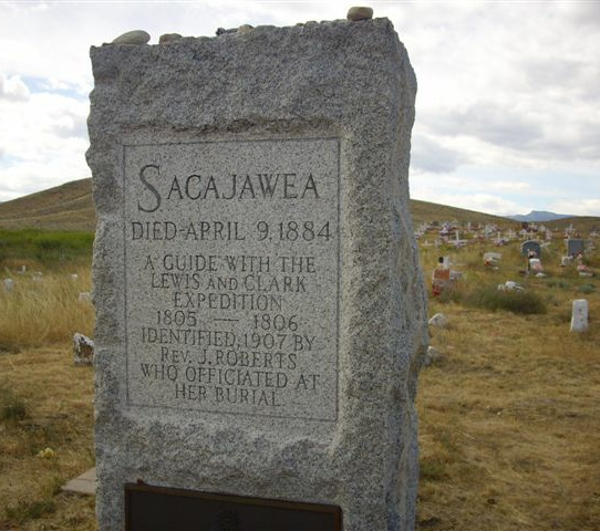 Gravestone of Sacajawea, translator and guide to the Lewis and Clark Expedition of 1803-06