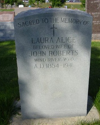 Headstone of Laura Alice Roberts, wife of Rev John Roberts, born in Dyserth