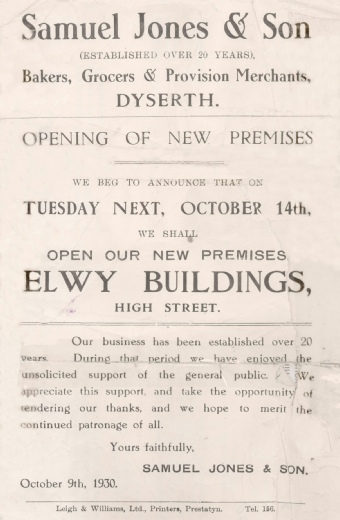 Advert for Samuel Jones and Son, new shop opening in Elwy Building, Dyserth