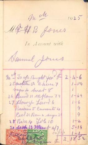 First page from order/account book from Prengwyn Stores in the High Street