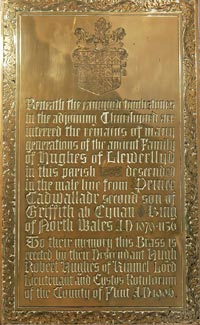 Brass plaque inside St Bridget's about the canopied (hooded) tombs in the churchyard, Dyserth